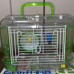 ドワーフハムスター用飼育キット ミニ グリーン ケージ 緑 お手入れ簡単 回し車付き 組立て簡単 ジャンガリアン 箱付き ハウス 飼育ケース