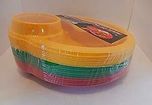 新品25.9cm カップホルダー付きプラスチック 使い捨てプレート 3つの仕切り付き 24枚セット(直径25.9cm0KE5