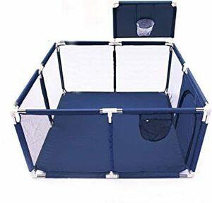 新品 ブルー Gaorui(ガオルイ)ベビープレイフェンス 方形 メッシュ ベビーサークル 赤ちゃん お昼寝 安全グ4K1M