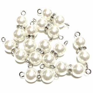 ハンドメイドパーツ(35) 10個セット   高級人工真珠 接続コネクター 高品質 日本製 ホワイト 上下カン付き シルバー