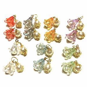 ハンドメイドパーツ(38)高級人工真珠   花びらベルチャーム 7ペア(14個)      ゴールドタイプ クリスマス飾りにも