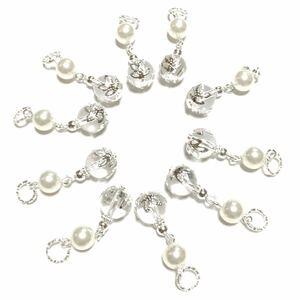 ハンドメイドパーツ(45) 10個セット   高級人工真珠 パールアクセサリー 揺れるパーツ クリスマスにも ホワイトシルバー