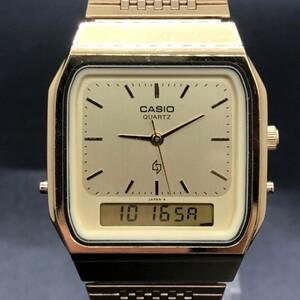 売り切り!CASIO カシオ 稼働品 ゴールド文字盤 メンズ 腕時計 クオーツ デジタル アナログ 305 AQ-330G 3針 スクエア型 NZN0J16B