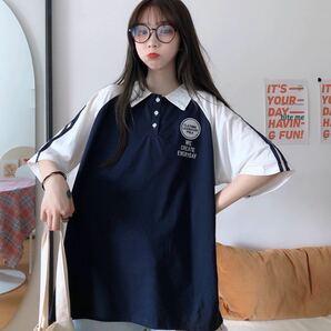 【ポロシャツ 韓国 レディース ビッグシルエット】