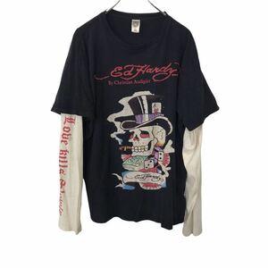 ed hardyプリントロングTシャツ XLサイズ エドハーディー ビッグサイズ ブラック ツートーンカラー 古着卸 アメリカ仕入 t2109-3706