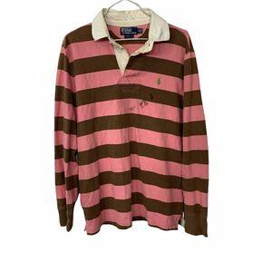POLO RALPH LAUREN ラガーシャツ Mサイズ ポロラルフローレン 長袖ポロシャツ ピンク ブラウン 古着卸 アメリカ仕入 t2109-4998