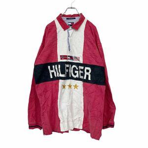 90s TOMMY HILFIGER 長袖ラガーシャツ XLサイズ ビッグサイズ トミーヒルフィガー 古着卸 アメリカ仕入 t2110-3801