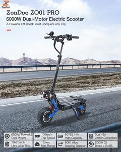 10インチファットタイヤロード電動キックボード 大容量製60V 38.4Ah 6000W駆動力 最大時速100km/h ZOOM油ブレーキ 椅子付き 電動バイク