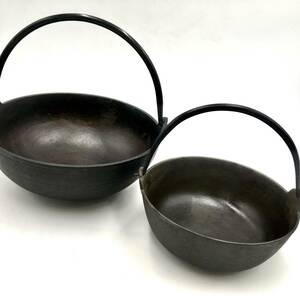 Q10043 すき焼き鍋 2点セット 正寿堂 調理器具 鍋 南部鉄器 昭和レトロ used