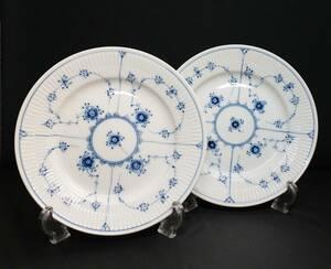 【即決・未使用品】ROYAL COPENHAGEN ロイヤルコペンハーゲン ブルーフルーテッド プレイン プレート 19cm 2枚セット 皿 食器