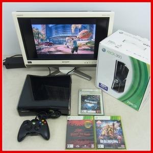 動作品 XBOX360S 250GB 本体一式 箱付 + デッドライジング2等 ソフト3本セット マイクロソフト Microsoft【20