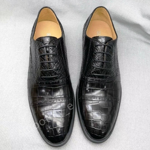 お洒落 クロコダイル ワニ革腹革センター取り メンズ靴 ハイエンド 紳士ビジネスシューズ ドレスシューズ 黒 27.0cm 各サイズあり