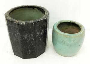 2個セット 火鉢 茶道具 煎茶道具 メダカ 金魚 鉢 手あぶり 庭 陶器 古美術 骨董 置物 古民具 古道具 まとめて
