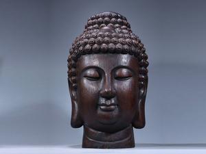 ■大成美術■仏教古美術 珍材彫刻 如来仏仏首 検) 非常に良い香り 清代 唐物 中国美術 骨董 古玩