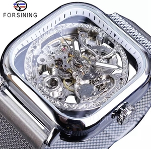 メンズ高級腕時計 41mm 機械式 自動巻き 希少 紳士ウォッチ 夜光 防水 スケルトンデザイン スクエア カジュアル KOK182