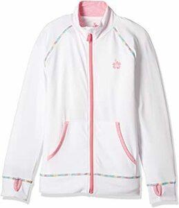 ホワイト 120 [リキッドアロハ] ラッシュガード フルジップ スタンドジャケット レインボーステッチ UVカット 吸汗速乾