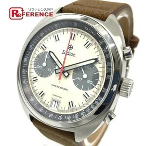 ZODIAC ゾディアック Z09605 クロノグラフ デイト グランドラリー クオーツ メンズ腕時計 SS/革ベルト メンズ シルバー