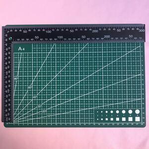 レザークラフト工具道具 両面カッティングマット(A4)直角定規(90度)