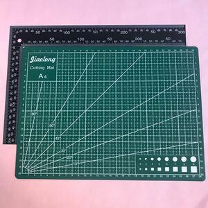 レザークラフト工具道具 両面カッティングマット(A4) 直角定規(90度)
