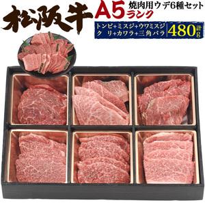 最高級A5松阪牛 食べ比べセット 焼肉用 合計480g(約3人用~4人用) ウデ肉 6種類詰め合わせ トンビ カルビ 証明書付き ギフト 熨斗OK■冷凍