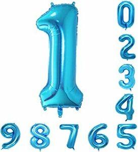 青 数字1 40インチの青の数のヘリウム風船(0-9)アラビア数字の誕生日パーティーデコレーション1