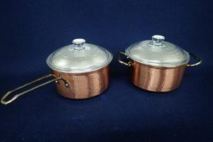 M-264 純銅製 片手・両手鍋セット 未使用品 蓋ガラス付