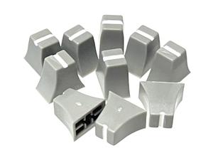 グラフィック・イコライザー スライドボリューム用 ツマミ 4mm軸用 10個セット (グレーベース・ホワイト) 12mm x 7mm x 高さ10.5mm