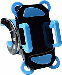 黒/青 G-Parts 自転車スマホホルダー黒/青 4点固定脱落防止構造 バイクハンドル固定携帯ホルダー 1022