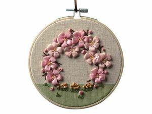 ■リボン刺しゅうで咲かせるお花とリース■キット■チェリーブロッサム■岡山絵美■刺繍