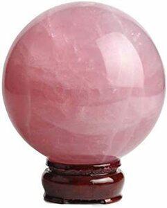 ピンク 4cm xiulin 風水 天然 水晶玉 ローズクォーツ ピンク 上質 珠 台座付けセット 浄化 開運 お守り パワー