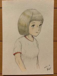Handwritten illustration ★ Gym clothes Girl ★ Pencil colored pencil ballpoint pen ★ paper paper ★ size 16.5 × 11.5 cm ★ new