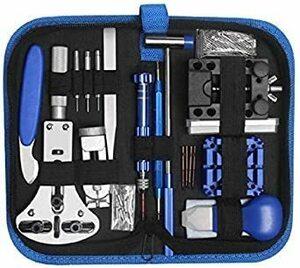 □新品□ブルー JCW 時計工具セット 腕時計 修理工具 メンテナンス工具17種セット ベルト交換 調整 電池交換などにUOVF