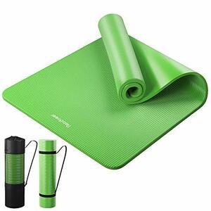 目玉 Reodoeer ヨガマット トレーニングマット エクササイズマット 収納バンド 収納ケース付 厚さ10mm (グリーン)