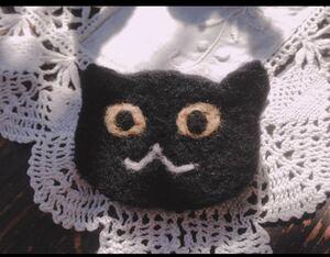 羊毛フェルト 黒猫のブローチ/ハロウィン