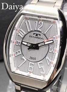 新品 TECHNOS テクノス 正規品 腕時計 シルバー クロノグラフ スクエア オールステンレス アナログ腕時計 多機能腕時計 防水 プレゼント