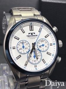新品 TECHNOS テクノス 正規品 オールチタン シルバー ホワイト 多機能腕時計 アナログ腕時計 クロノグラフ 5気圧防水 クオーツ メンズ