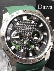 新品 TECHNOS テクノス 正規品 腕時計 グリーン ラバーベルト クロノグラフ クォーツ アナログ腕時計 多機能腕時計 防水 メンズ 10気圧防水