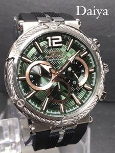 新品 TECHNOS テクノス 正規品 ブラック グリーン ラバーベルト クロノグラフ クォーツ アナログ腕時計 多機能腕時計 防水 10気圧防水