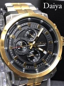 新品 TECHNOS テクノス 正規品 オールステンレス 多機能腕時計 アナログ腕時計 ゴールド ブラック 5気圧防水 カレンダー クオーツ メンズ