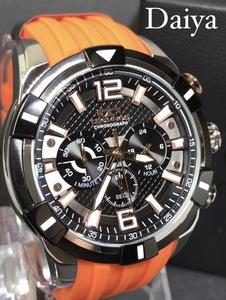 新品 TECHNOS テクノス 正規品 オレンジ 腕時計 ラバーベルト クロノグラフ クォーツ アナログ腕時計 多機能腕時計 防水 メンズ 10気圧防水