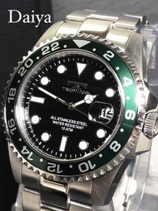 新品 TECHNOS テクノス 正規品 オールステンレス 多機能腕時計 シルバー グリーン アナログ腕時計 10気圧防水 カレンダー クオーツ メンズ
