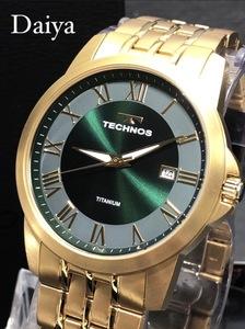 新品 TECHNOS テクノス 正規品 オールチタン ゴールド グリーン アナログ腕時計 多機能腕時計 カレンダー 3気圧防水 クオーツ メンズ
