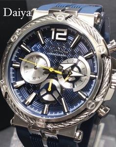 新品 TECHNOS テクノス 正規品 ブルー シルバー ラバーベルト クロノグラフ クォーツ アナログ腕時計 多機能腕時計 防水 10気圧防水