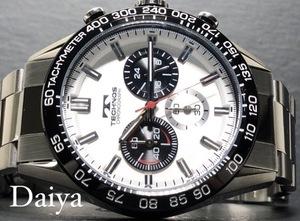 新品 TECHNOS テクノス 正規品 オールステンレス ホワイト シルバー アナログ腕時計 多機能腕時計 クロノグラフ 5気圧防水 クオーツ メンズ