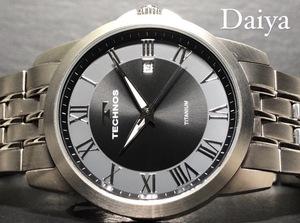 新品 TECHNOS テクノス 正規品 オールチタン シルバー ブラック アナログ腕時計 多機能腕時計 カレンダー 3気圧防水 クオーツ メンズ