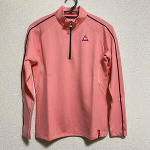 le coq sportif golf ルコックゴルフ レディース ハーフジップ シャツ 長袖 Lサイズ ピンク系 かわいい 送料無料!