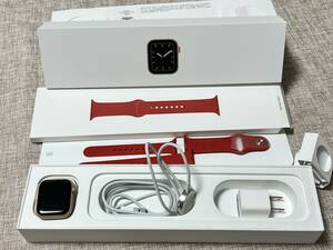 used beautiful goods * operation normal * Apple Watch Series 5 40mm Gold aluminium case GPS version A2092 attached goods all equipped Apple watch 5 band red
