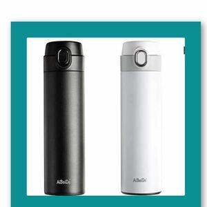 水筒 真空断熱保温保冷ステンレスボトル 480ML ブラック+ホワイト 2本セット
