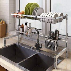 傷なし おすすめ商品 即決可能!水切りラック ステンレス鋼 シンク上収納 キッチンオーガナイザー