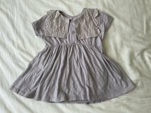 mamaraku ワンピース ロンパース 80 ビッグカラー 襟 バースデイ ベビー服 子供服 女の子 中古